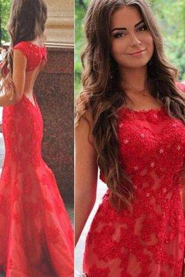 Schaufel-Ausschnitt Sweep Train Juwel Ausschnitt Glamouröses Abendkleid aus Spitze