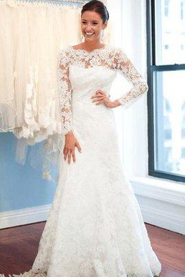 Spitze Drapiertes Lange Ärmeln Sweep Zug Brautkleid mit Bordüre