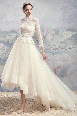 Tüll Spitze Gesticktes Reißverschluss Brautkleid mit Schleife