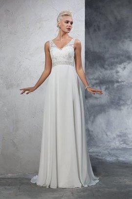 Prinzessin a linie Anständiges Brautkleid mit Empire Taille mit V-Ausschnitt