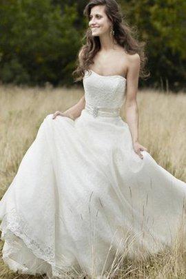 A-Line Sweep Zug Ärmelloses Sexy Brautkleid mit Herz-Ausschnitt