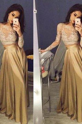 Prinzessin Normale Taille Schaufel-Ausschnitt Langärmeliges Ballkleid aus Satin