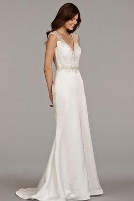 Strand Kurze Ärmeln V-Ausschnitt Luxus Brautkleid mit Perlen