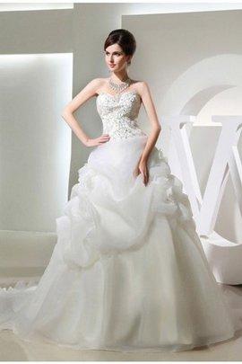 Empire Taille Perlenbesetztes Ärmelloses Brautkleid mit Reißverschluss mit Blume