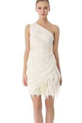 Etui Perlenbesetztes Gerüschtes Kurzes Brautkleid mit Natürlicher Taille