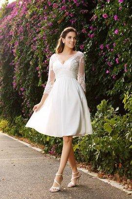 V-Ausschnitt A-Linie Chiffon Dreiviertel Länge Ärmeln Kurzes Brautkleid