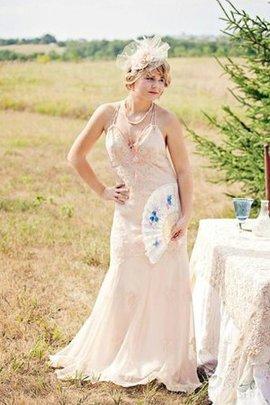 Meerjungfrau Stil Ärmelloses Plissiertes Brautkleid mit Bordüre mit Rüschen