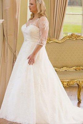 A-Line Plissiertes Spitze Brautkleid mit Knöpfen mit 3/4 Länge Ärmeln