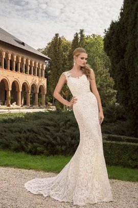Etui Ärmelloses Luxus Brautkleid mit Schleife mit Gürtel
