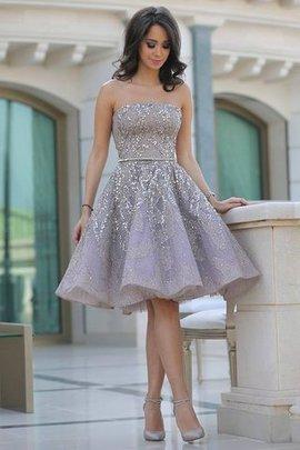 Paillettenbesetztes Prinzessin knielanges Abiballkleid ohne Ärmeln aus Satin