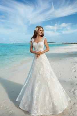 Quadrat Ausschnitt Romantisches Bodenlanges Brautkleid mit Gekappten Ärmeln mit Perlen