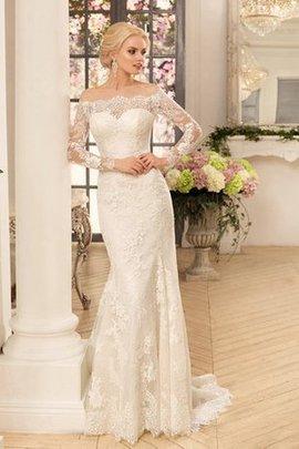 Meerjungfrau Halle Mitte Rücken Modern Brautkleid mit Applike