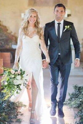 Spitze Reißverschluss Langärmeliges Sexy Brautkleid ohne Ärmeln