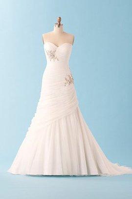 A-Line Drapiertes Anständiges Brautkleid ohne Träger mit Juwel Mieder