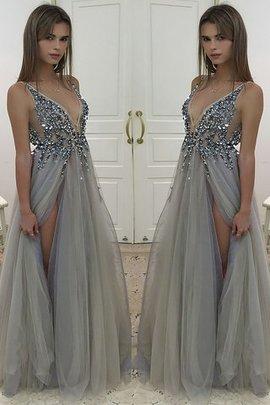 A Linie Prinzessin Normale Taille Bodenlanges Abendkleid mit Perlen