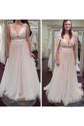 Ärmelloses V-Ausschnitt Elegantes Brautkleid mit Bordüre mit Knöpfen