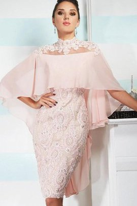 Spitze Hoher Kragen Halbe Ärmeln Abendkleid mit Bordüre mit Applikation