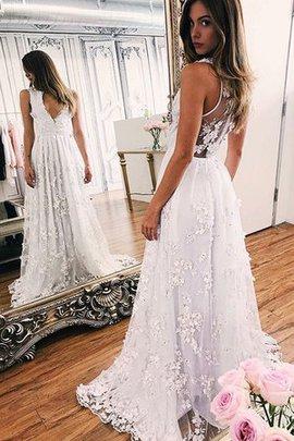 Prinzessin V-Ausschnitt Normale Taille Hinreißend A-Linie Ärmelloses Brautkleid