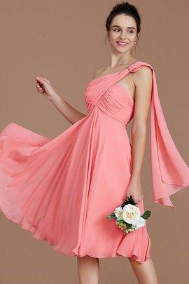 Prinzessin Gerüschtes A-Line Ärmelloses Ein Schulter Brautjungfernkleid