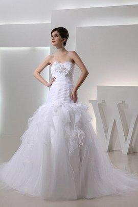 Organza Empire Taille Herz-Ausschnitt Drapiertes Brautkleid mit Blume