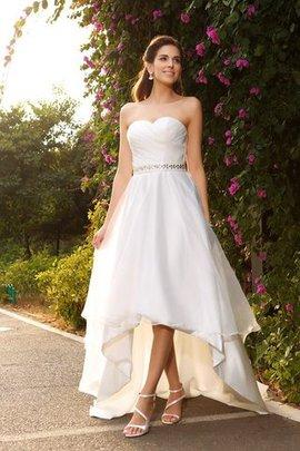 Hoch Niedrig A-Linie Prinzessin Ärmelloses Brautkleid mit Perlen