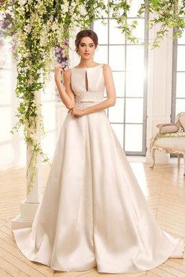 Juwel Ausschnitt Satin Prächtiges Bodenlanges Brautkleid mit Knöpfen