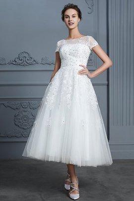 Normale Taille Kurze Ärmeln A-Line Tüll Perlenbesetztes Spannend Wadenlanges Brautkleid