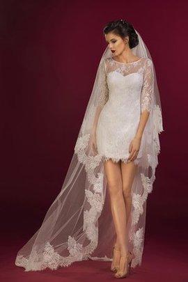 Enganliegendes Halbe Ärmeln Reißverschluss Mini Brautkleid mit Juwel Ausschnitt