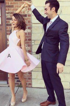 Prinzessin Neckholder Mini Abschlusskleid aus Satin ohne Ärmeln