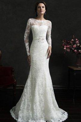 Zeitloses Juwel Ausschnitt Schlichtes Brautkleid mit Schleife mit Tiefem V-Ausschnitt
