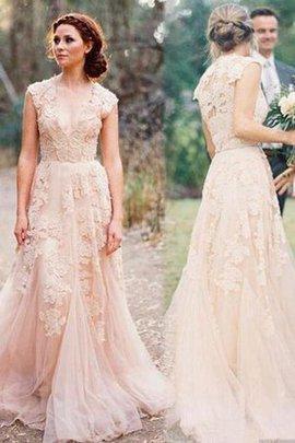 Natürliche Taile Traumhaftes Romantisches Sittsames Brautkleid mit Reißverschluss