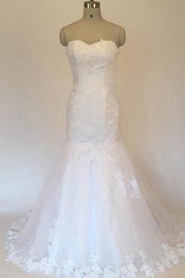 Meerjungfrau Tüll Natürliche Taile Herz-Ausschnitt Brautkleid mit Applike