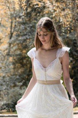 Seeküste V-Ausschnitt Legeres Brautkleid mit Bordüre mit Gürtel