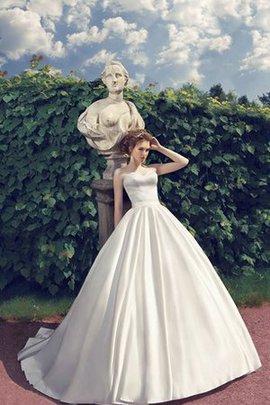 A-Line Satin Schlichtes Brautkleid mit Rücken Schnürung mit Natürlicher Taille