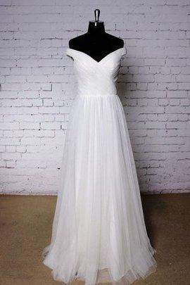 Schulterfrei Tüll Drapiertes Plissiertes Sweep Zug Brautkleid