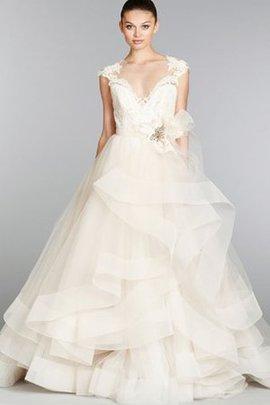 Tüll Duchesse-Linie V-Ausschnitt Brautkleid mit Bordüre mit Kristall