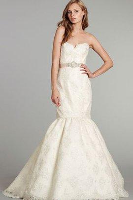 Trägerlos Rückenfreies Gesticktes Brautkleid mit Herz-Ausschnitt ohne Ärmeln