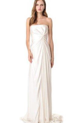 Strand Reißverschluss Bescheidenes Tiefer V-Ausschnitt Brautkleid aus Satin