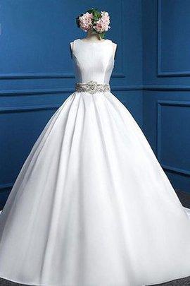 Rückenfreies Natürliche Taile Wadenlanges Brautkleid ohne Ärmeln mit Gürtel