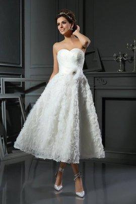 A linie Herz-Ausschnitt Satin Wadenlanges Brautkleid mit Empire Taille