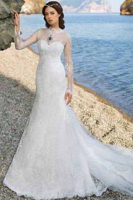 Strand Lange Ärmeln Glamouröses Konservatives Brautkleid mit Gericht Schleppe