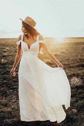 A linie Prinzessin Energisch Chiffon Bodenlanges Brautkleid mit Rüschen