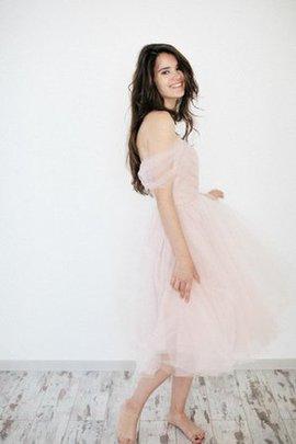 A-Line Ärmelloses Reißverschluss Gerüschtes Brautkleid mit Schulterfreier Ausschnitt