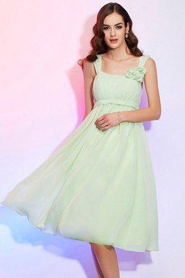 Spaghetti Träger Prinzessin Knielanges Mini Brautjungfernkleid aus Chiffon