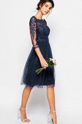 3 /4 Länge Ärmeln Bateau Schlichtes Brautjungfernkleid aus Tüll mit Reißverschluss