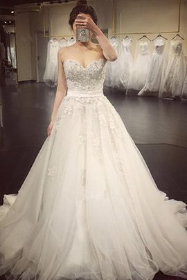 A-Line Reißverschluss Plissiertes Brautkleid mit Bordüre mit Applike
