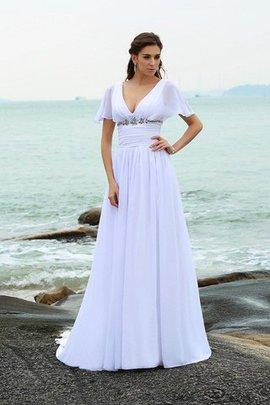 V-Ausschnitt Beach Stil a linie Empire Taille Anständiges Brautkleid