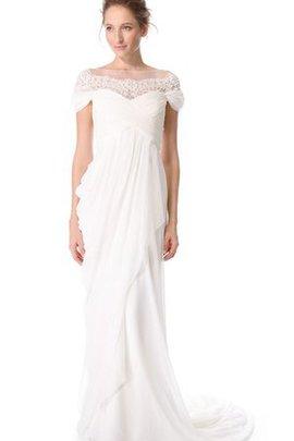 Schulterfreier Ausschnitt Chiffon Kurze Ärmeln Sittsames Brautkleid mit Bordüre
