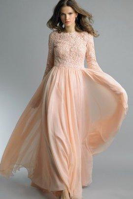 A-Line Normale Taille Langärmeliges Chiffon Abendkleid mit Bordüre