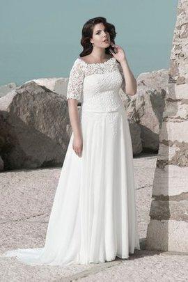 Schaufel-Ausschnitt Quadrat Ausschnitt Bodenlanges Brautkleid mit Bordüre aus Chiffon